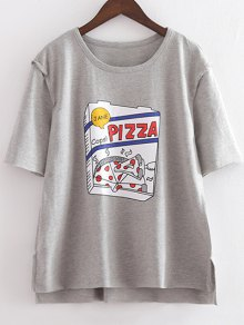Character Round Neck Short Sleeve Loose Tee - Light Gray L