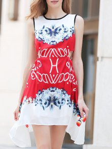 Floral Round Neck Sleeveless A Line Dress