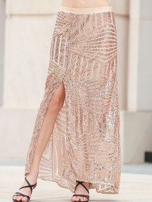 Sequins High Slit Long Skirt