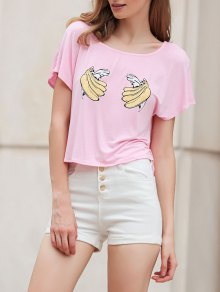 Banana Print Short Sleeve Cropped T-Shirt - Pink Xl