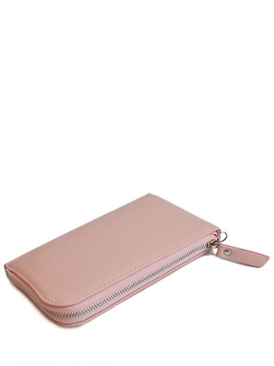 new Zip Solid Color PU Leather Coin Purse - PINK