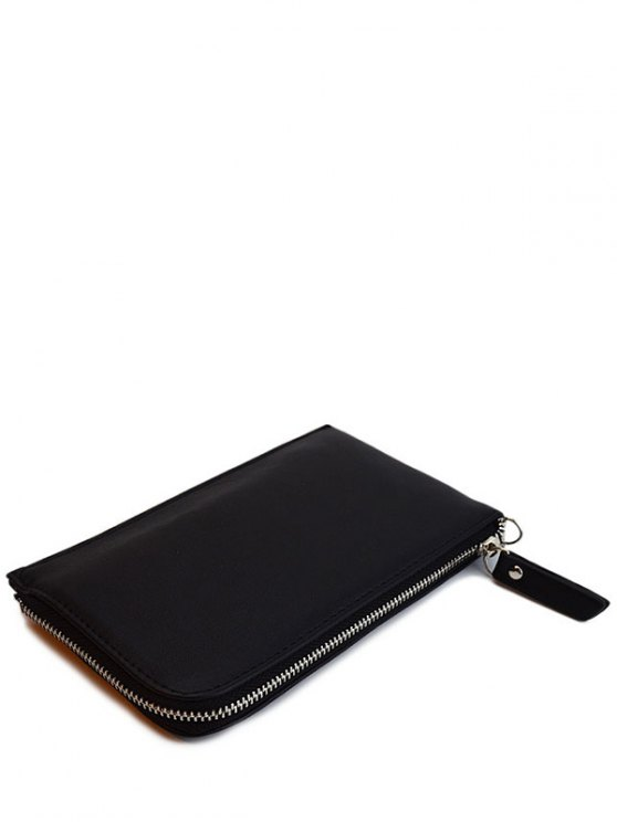 Zip Solid Color PU Leather Coin Purse - BLACK  Mobile