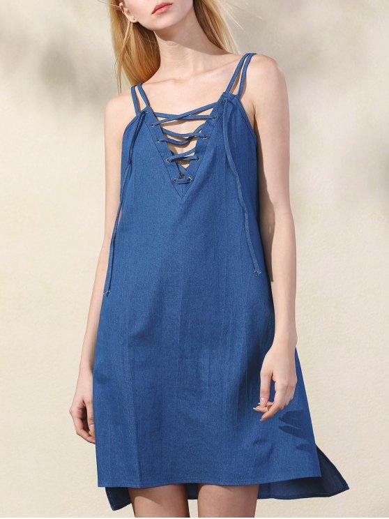 Lace Up bretelles spaghetti Robe en chambray - Bleu S