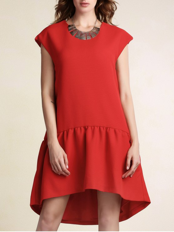 trendy Red Ruffles High Low Short Sleeve Dress - RED L