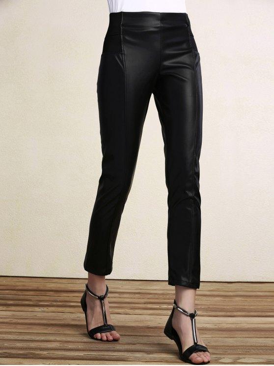 online Black PU Leather Pencil Pants - BLACK 2XL