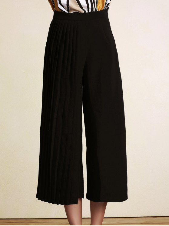 hot Black Pleated High Waist Wide Leg Pants - BLACK 2XL