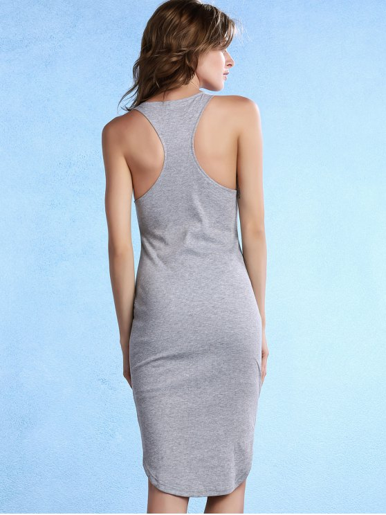 Solid Color Packet Buttock U Neck Sleeveless Dress - GRAY S Mobile