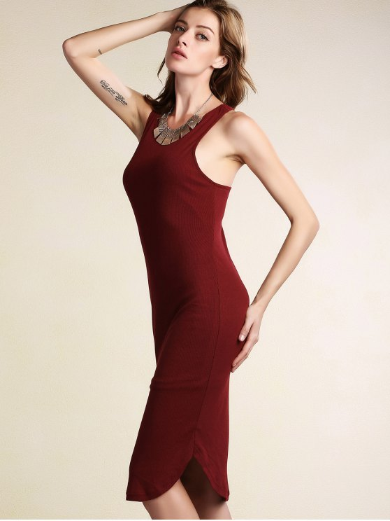 Solid Color Packet Buttock U Neck Sleeveless Dress - WINE RED M Mobile