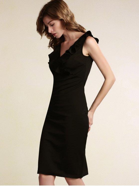 Black Flounce Ruffles Plunging Neck Work Dress - BLACK M Mobile