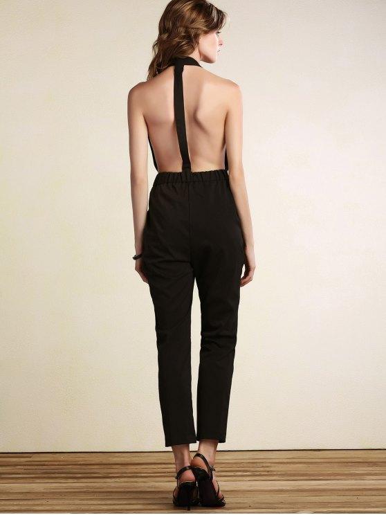 Plunging Neck Open Back Jumpsuit - BLACK L Mobile