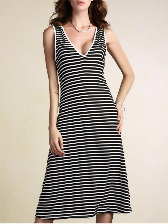 latest Stripe Plunging Neck Sleeveless Dress - STRIPE L