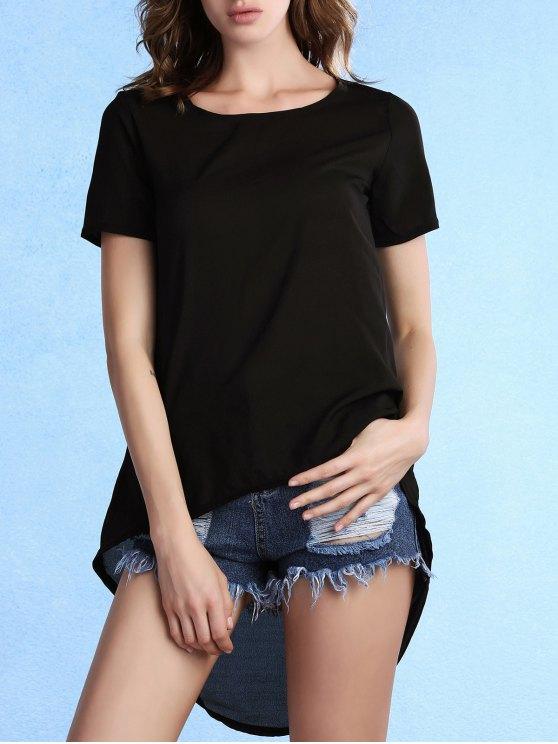 De mayor a menor cuello redondo manga corta de la camiseta - Negro XL