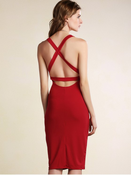 Hollow Back Sleeveless Bodycon Dress - DARK RED S Mobile