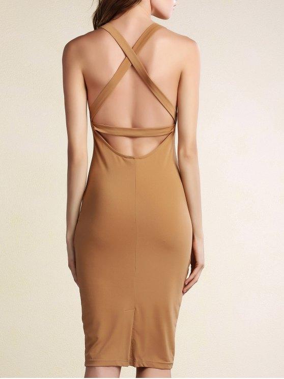 Hollow Back Sleeveless Bodycon Dress - KHAKI L Mobile