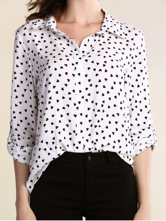 womens Full Heart Turn Down Collar Long Sleeve Shirt - WHITE 2XL