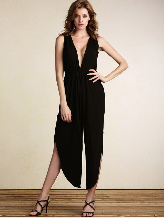 Black Plunging Neck Sleeveless Open Back Jumpsuit - BLACK L Mobile