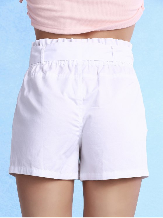 Solid Color High Waisted Belted Shorts - WHITE L Mobile