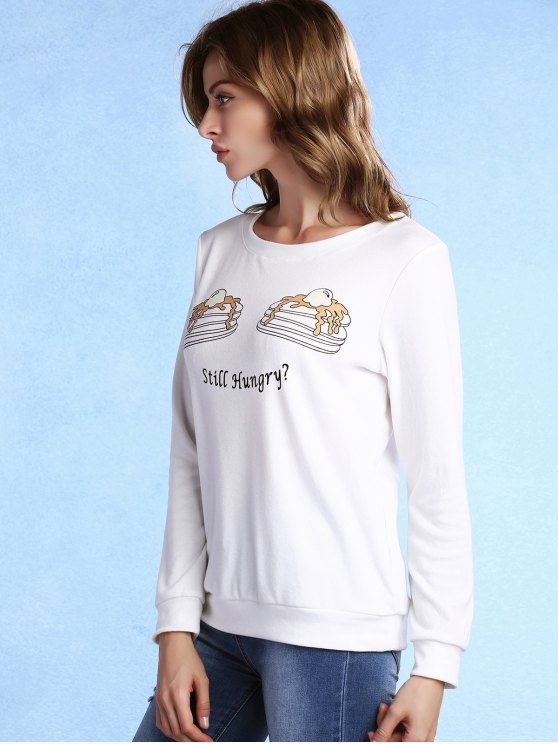 Cake Print Round Neck Long Sleeve Sweatshirt - WHITE L Mobile