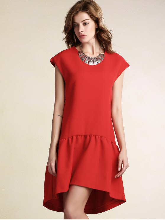 Red Ruffles High Low Short Sleeve Dress - RED M Mobile