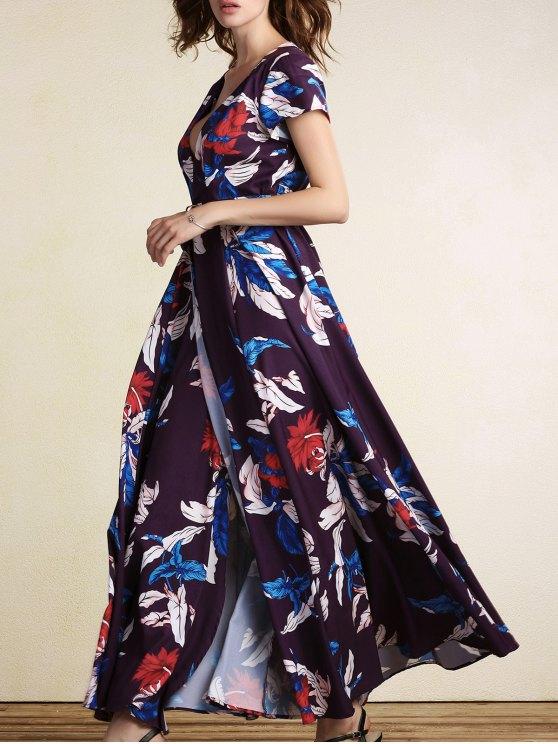 sale Floral Plunging Neck Short Sleeve Maxi Dress - COLORMIX 2XL