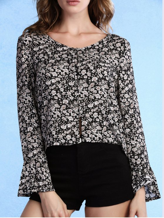 unique Tiny Floral Print V-Neck Long Sleeve Blouse - BLACK L