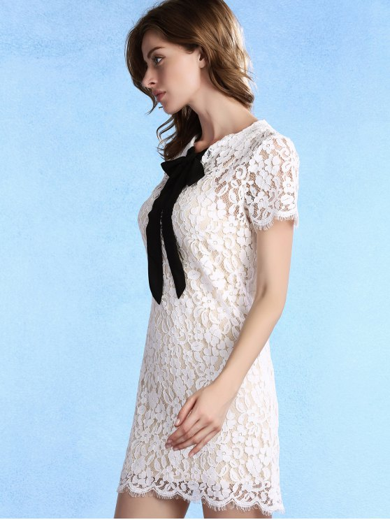 Bow Tie Short Sleeve Lace Dress with Cami Dress Twinset - WHITE 2XL Mobile
