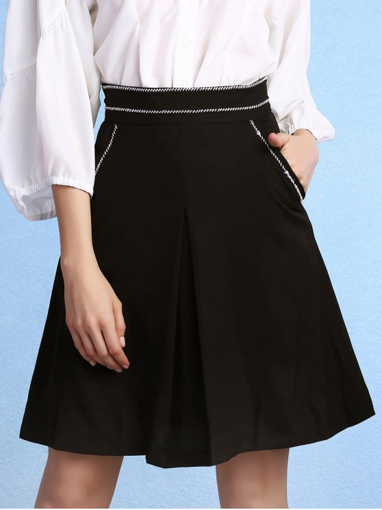 Black High Waisted Pockets A Line Skirt - BLACK 2XL Mobile