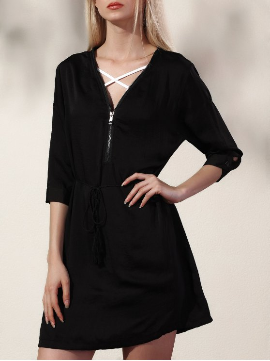 Black V Neck Half Sleeve Dress - BLACK M Mobile