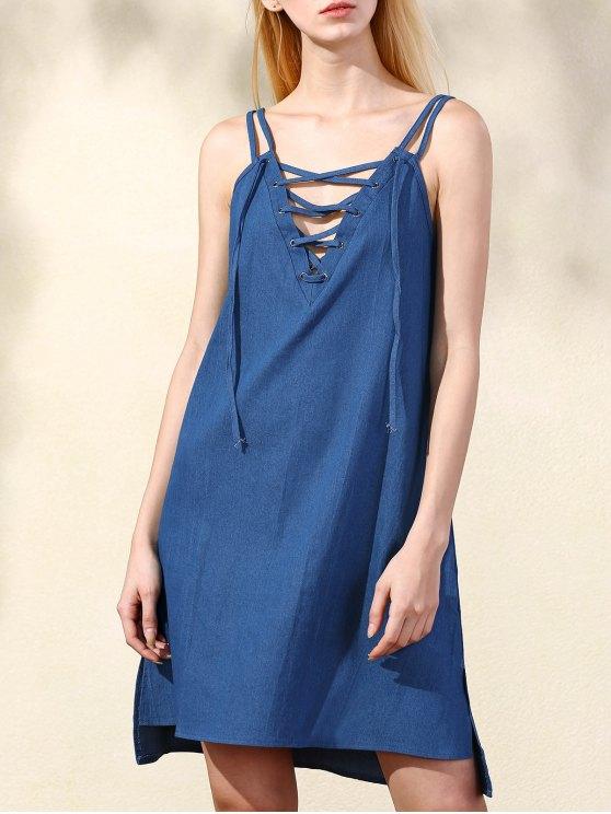 Lace Up Spaghetti Straps Chambray Dress - BLUE XL Mobile