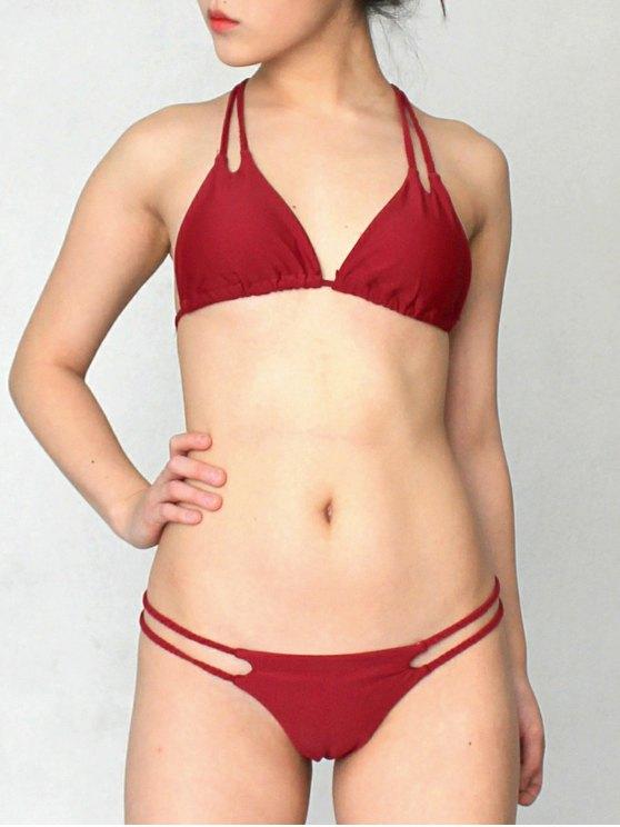 Solid Color Halter Lace Up Bikini Set - WINE RED L Mobile