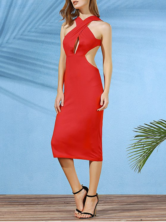 affordable Convertible Open Back Plunging Neck Sleeveless Dress - DEEP RED S