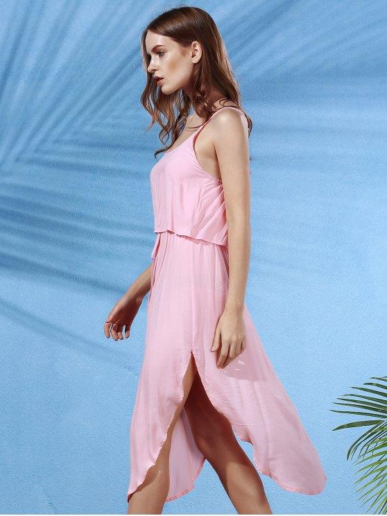 Irregular Hem Spaghetti Straps Drawstring Side Slit Dress - SHALLOW PINK L Mobile