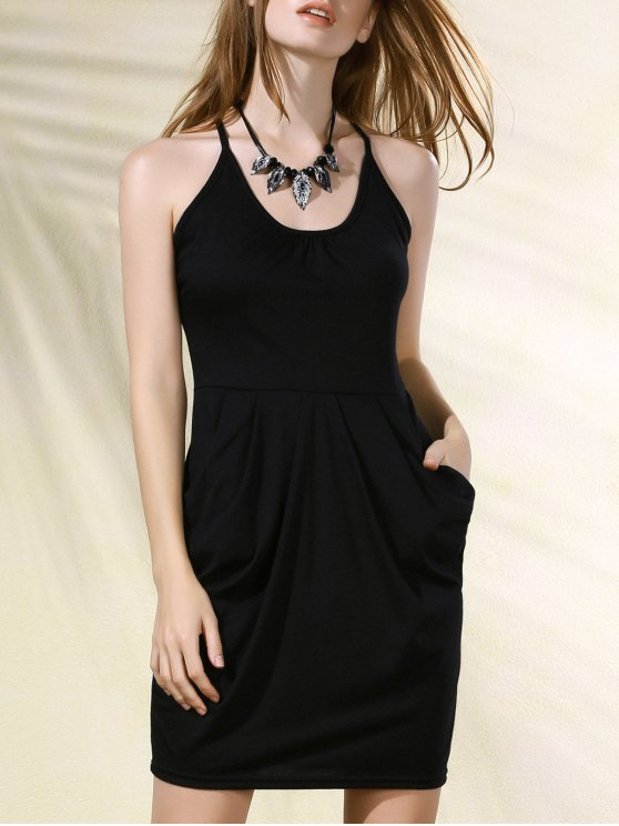 fancy Spaghetti Strap Packet Buttocks Tulip Dress - BLACK L