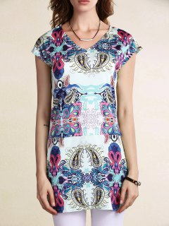 Fitting Printed Scoop Neck Short Sleeve Dress - Blue Xl