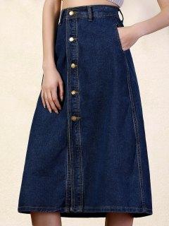 Deep Blue High Waist Denim Skirt - Deep Blue 2xl