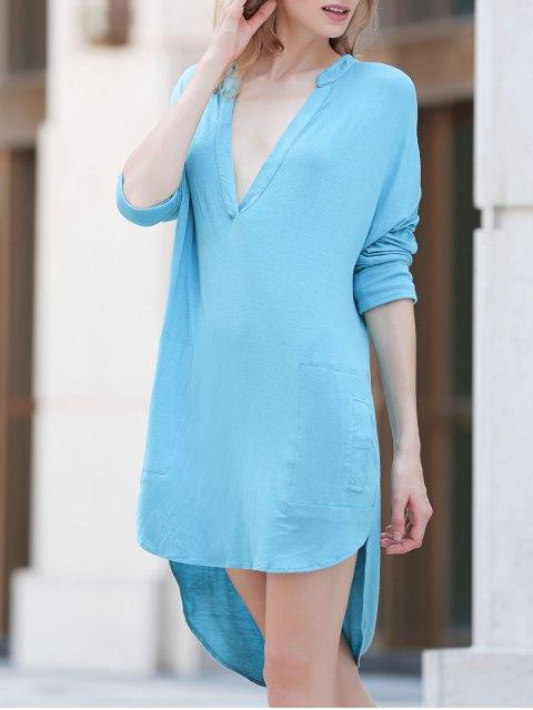 fashion Low Cut Long Sleeve Plunge Dress - LAKE BLUE L Mobile