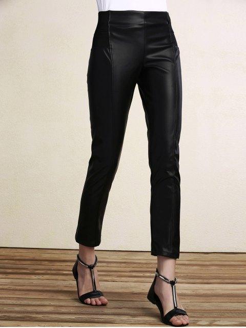 ladies Black PU Leather Pencil Pants - BLACK M Mobile