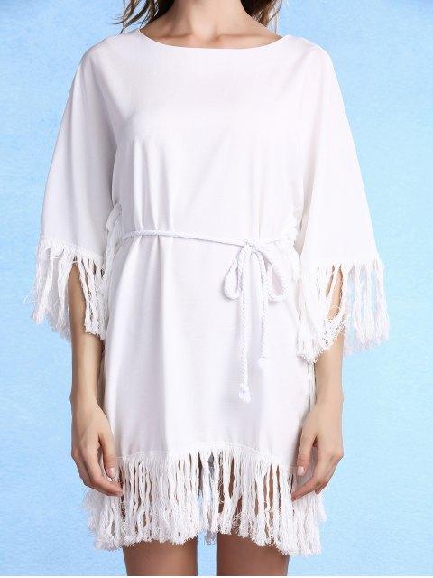 fancy Tassels Spliced Round Collar 3/4 Sleeve Dress - WHITE L Mobile