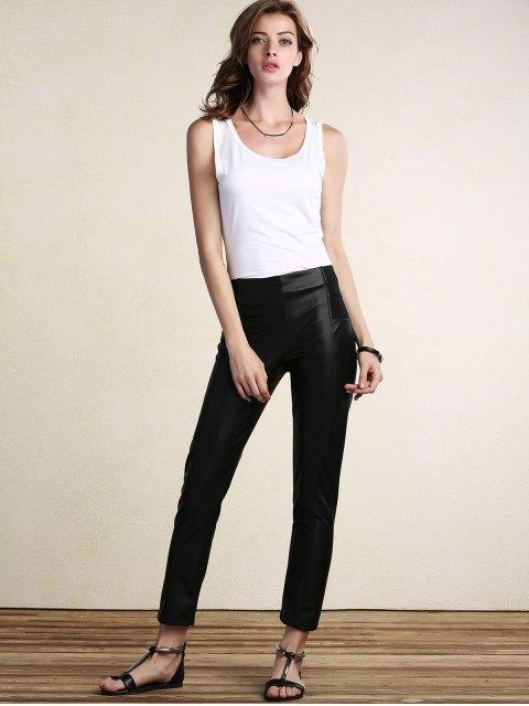 Noir PU Crayon en cuir Pantalons - Noir L Mobile