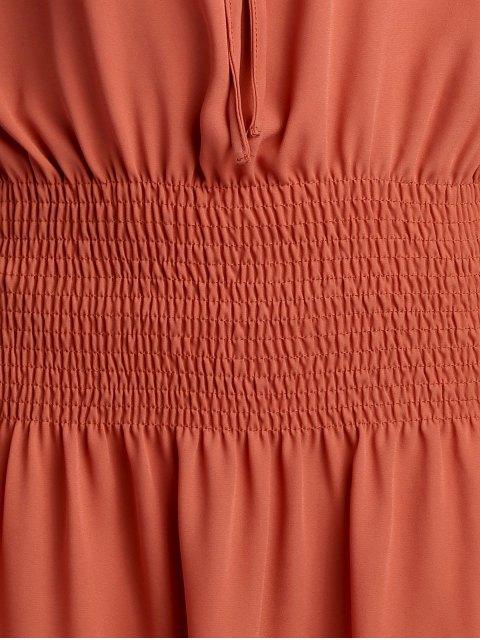 fashion Elastic Waist Spaghetti Strap Solid Color Dress - BRICK-RED L Mobile