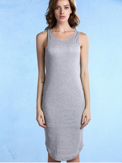 women Solid Color Packet Buttock U Neck Sleeveless Dress - GRAY L Mobile