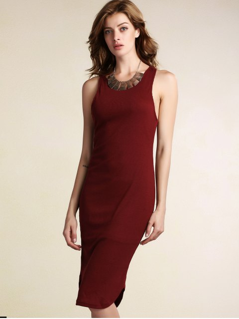 lady Solid Color Packet Buttock U Neck Sleeveless Dress - WINE RED M Mobile