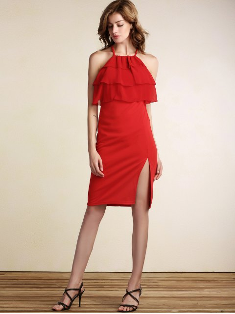 unique Tiered Ruffle Front Bodycon Dress - RED L Mobile