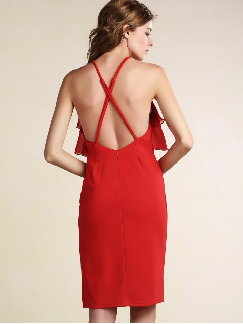 sale Tiered Ruffle Front Bodycon Dress - RED XL Mobile