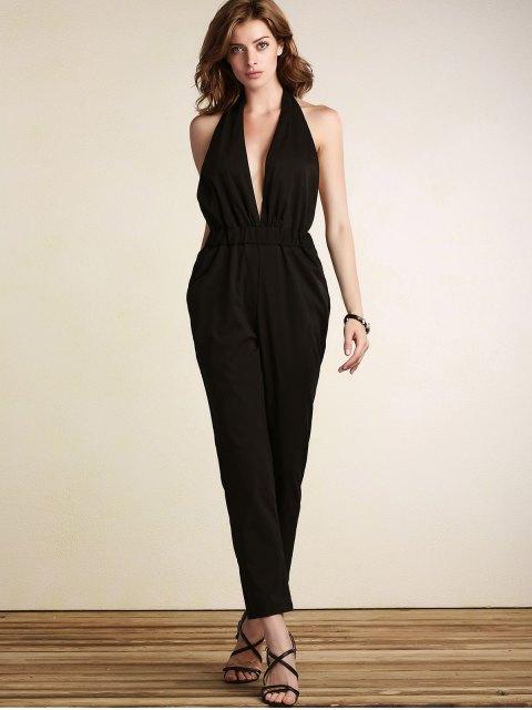 sale Plunging Neck Open Back Jumpsuit - BLACK XL Mobile