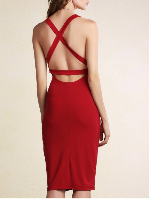 ladies Hollow Back Sleeveless Bodycon Dress - DARK RED 2XL Mobile