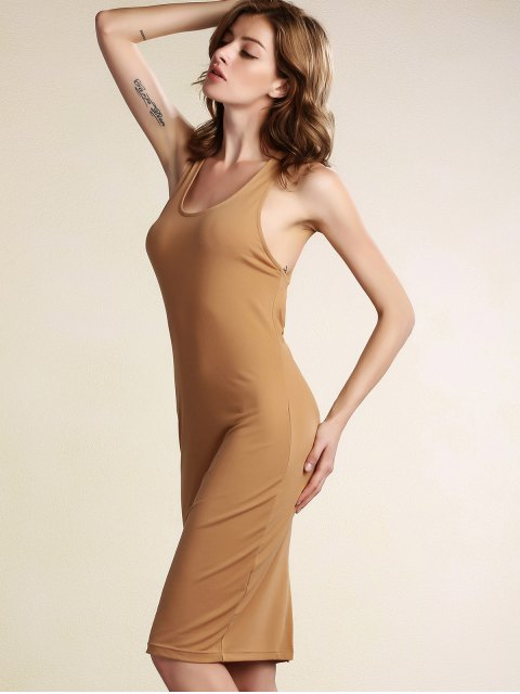 women's Hollow Back Sleeveless Bodycon Dress - KHAKI M Mobile