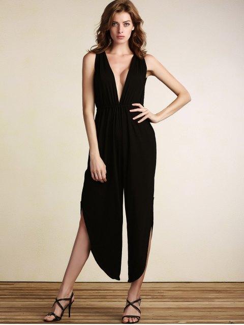affordable Black Plunging Neck Sleeveless Open Back Jumpsuit - BLACK M Mobile