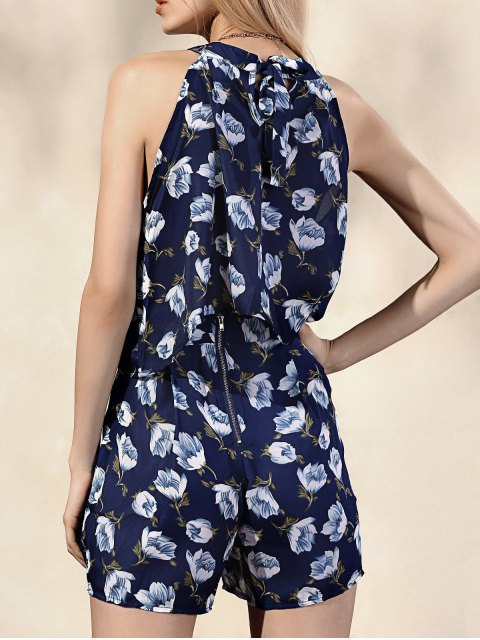 best Printed Halter Top + High-Waisted Shorts - BLUE XL Mobile