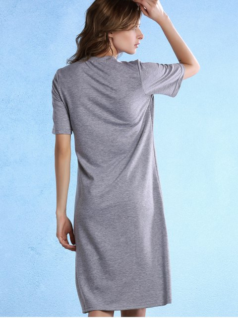 chic Geometric Pattern Round Neck Half Sleeve Knee Length Dress - GRAY XL Mobile